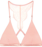 I.D. Sarrieri Histoire Des Femmes Chantilly Lace-trimmed Jersey Soft-cup Triangle Bra - Pastel pink