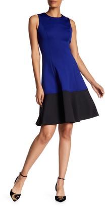 Calvin Klein Colorblock Scuba Fit & Flare Dress