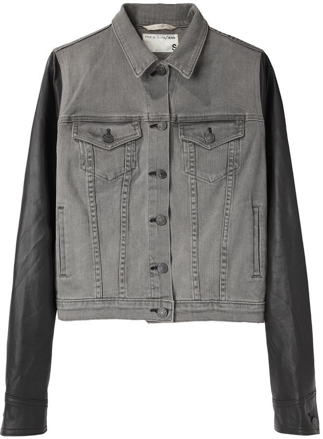 Rag and Bone Rag & Bone / Jean / Jean Jacket with Leather Sleeves