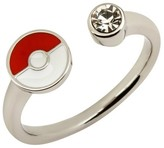 Pokemon Women's Poké Ball Stainless Steel with Clear Gem Open Ring