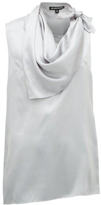 Ann Demeulemeester Knotted Handkerchief-neck Silk-satin Top - Light Blue