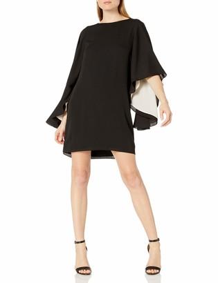 Halston Women's Flowy Sleeve Round Neck Color Blocked Dress