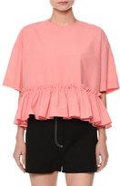 MSGM Short-Sleeve Striped Seersucker Ruffle-Hem Blouse, Pink
