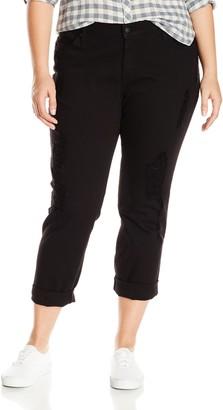 James Jeans Women's Plus-Size Neo Beau Curvy Boyfriend Jean in Destroyed Black 14