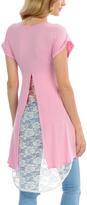 Magic Fit Pink Lace-Panel Hi-Low Tunic