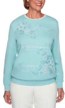 Alfred Dunner Petite St. Moritz Embroidered Floral Biadere Top