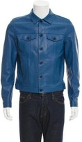 Burberry Grain Leather Button-Up Jacket w/ Tags
