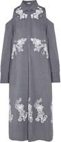 Suno Cutout embroidered cotton-chambray dress