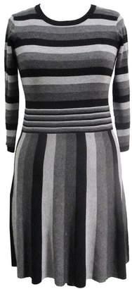 Sandra Darren Striped 3/4 Sleeve Flared Sweater Dress