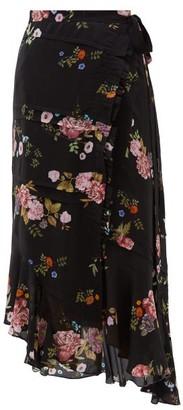 Preen Line Kalifa Floral-print Silk Crepe De Chine Skirt - Black Pink
