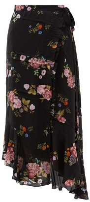 Preen Line Kalifa Floral-print Silk Crepe De Chine Skirt - Womens - Black Pink