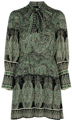 Alice + Olivia Tanisha green paisley-print mini dress