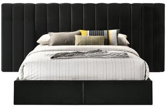Everly Quinn Amher Upholstered Panel Headboard and Footboard Size: Queen, Color: Black