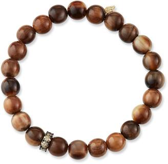 Sydney Evan 14k Brown Diamond Rondelle & Horn Bead Bracelet