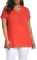 Sejour Plus Size Women's Short Sleeve V-Neck Tunic Top
