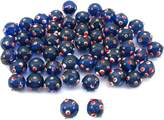 FindingKing Blue Round Dot Glass Beads Lampwork Beading Approx 50