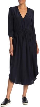 James Perse Silk 3/4 Sleeve Midi Dress