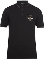 Dolce & Gabbana Bee-embroidered cotton-piqué polo shirt