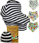 Adorology Premium 4 in 1 Baby Car Seat Canopy | Nursing Cover & Bandana Drool Bib Set with Drawstring Carry Bag Unique Shower Gift Stretchy Multi-Use Black + White Stripe Carseat Covers Shopping Cart High Chair