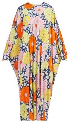 Dodo Bar Or Yvon Floral-print Kaftan Dress - Womens - Navy Multi