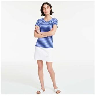 Joe Fresh Women's Stripe Crew Neck Tee, Blue (Size L)