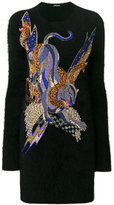 Balmain crystal-embellished panther knitted dress - women - Polyamide/Angora/Brass/glass - 36