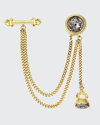 Ben-Amun Double Chain Coin Brooch