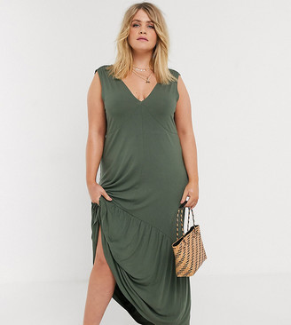 ASOS DESIGN Curve v neck maxi dress with full pep hem in khaki