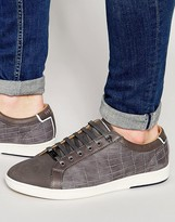 Ted Baker Borgeo Nubuck Leather Croc Trainers
