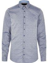 River Island MensBlue textured print Vito shirt