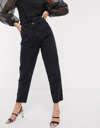 Stradivarius slouchy yoke front jeans in black