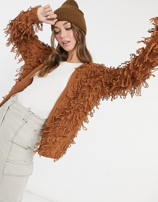 New Look loopy knitted cardigan in rust