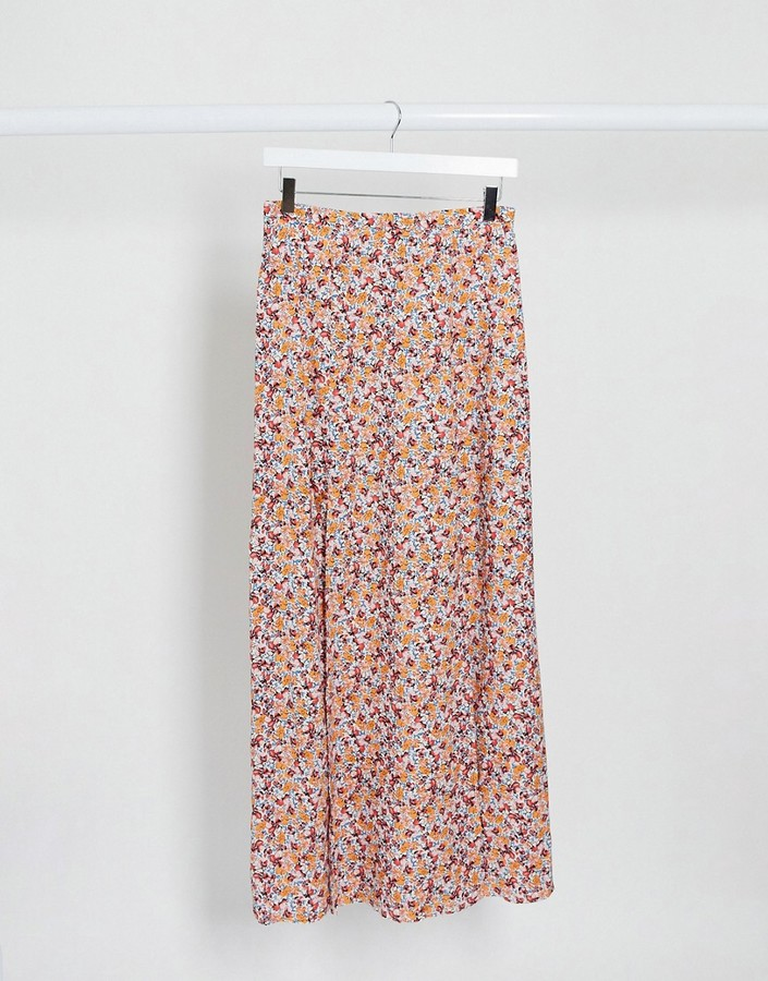 ASOS DESIGN double split maxi skirt in pink ditsy floral print