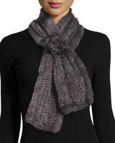 La Fiorentina Mink Fur Pull-Thru Scarf w/ Rosette, Gray