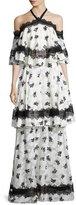 Sachin + Babi Tiered Lace-Trim Burnout Maxi Dress, Ivory