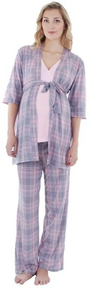 Everly Grey Women's Susan Maternity and Nursing 5 Piece PJ Pant Set with Robe and Sleep Bra