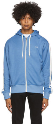 Ami Alexandre Mattiussi Blue Logo Embroidered Zipped Hoodie