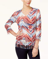 Alfred Dunner Gypsy Moon Chevron Fringed Top