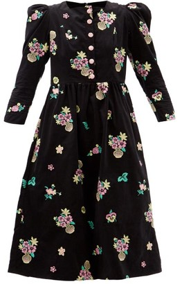 Batsheva Floral-embroidered Cotton-corduroy Midi Dress - Black