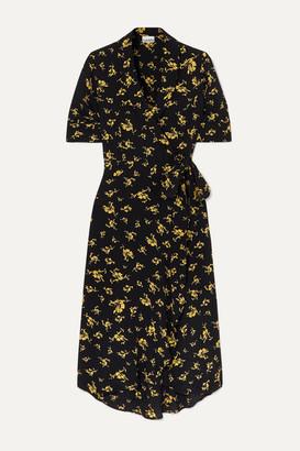 Ganni Floral-print Crepe Wrap Dress - Black