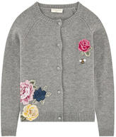 MonnaLisa Embroidered wool blend cardigan