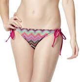 Junior's Zig Zag Side Tie Swim Bottom -Pink/Brown/Green