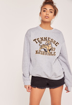 Missguided Tennessee Nashville Sweatshirt Grey