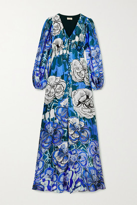 Temperley London Missy Floral-print Hammered Silk-satin Maxi Dress - Purple