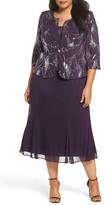 Alex Evenings Plus Size Women's Sequin Mock Two-Piece Dress With Jacket