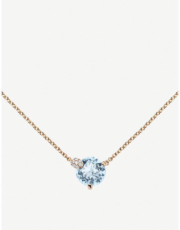 Rosegold BUCHERER JEWELLERY Peekaboo 18ct rose-gold and aqua necklace