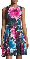 Taylor Sleeveless Floral-Print Dress, Raspberry