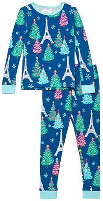 BedHead Pajamas Kids Long Sleeve Snug Fit Pajama Set (Toddler/Little Kids/Big Kids) (Parisienne Holiday) Girl's Pajama Sets