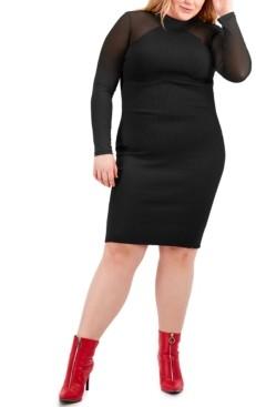 Full Circle Trends Trendy Plus Size Mesh-Sleeve Midi Dress