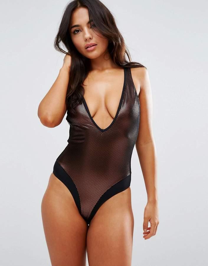 fd6a85ba117 Pour Moi Copper Mesh Plunge Swimsuit